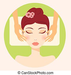 original trendy vector girl facial massage