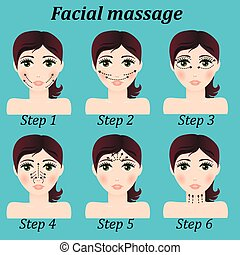 original trendy vector girl facial massage set