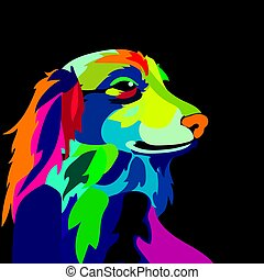 illustration of colorful dog