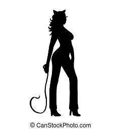 Very high quality original trendy vector illustration of halloween catwoman with whip