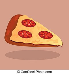 Very high quality original trendy  vector pizza with tomato slic