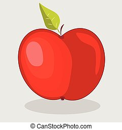 trendy  vector red apple illustration