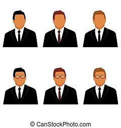 set of man in suit avatars