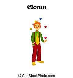 happy juggling circus clown.
