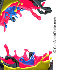 Very high resolution 3d render of 2 various cmyk paint splashes isolated on white.