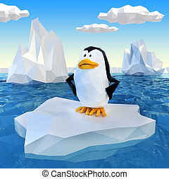 Lowpoly penguin on ice - Very high resolution computerr...