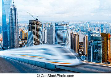 very high-speed train go through the shanghai lujiazui...