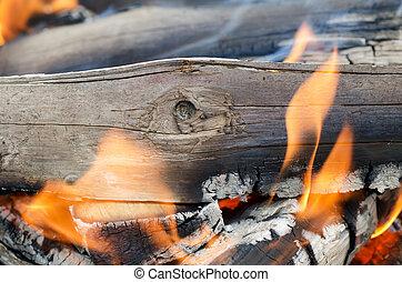 Very hot campfire close up