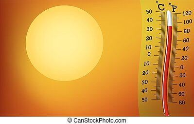 Very hot sun and thermometer - The thermometer on the...