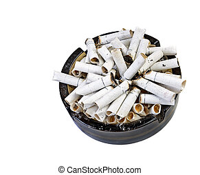 many butts in ashtray