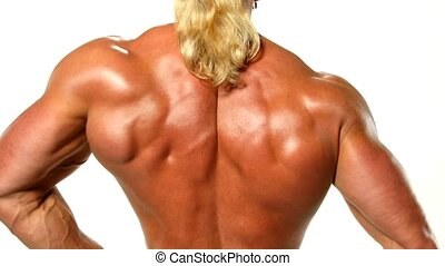 Very muscular back guy on white background.