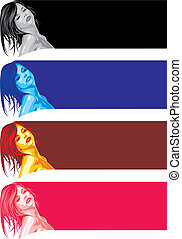 girls faces on the color background