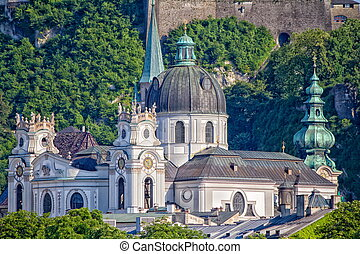 very nice view of the city of Salzburg in Austria