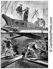 Very often, Dolly accompanied the captain, vintage engraving...
