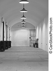 Very old (1854) prison cell block with gate leading up to Crown Court