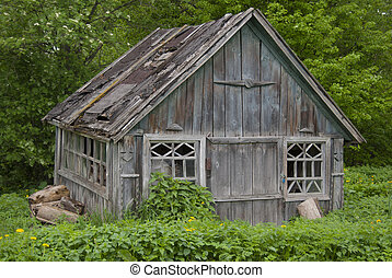 Very old barn with a ruined leaky roof