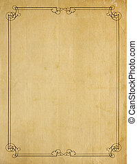 Very Old Blank Paper Background With Scroll Border - Aged...