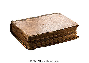Very old book isolated on white.