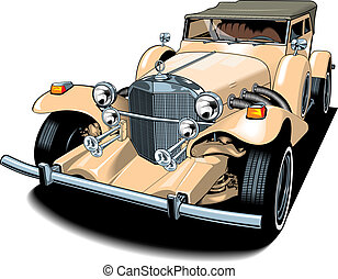 very old car on the white background