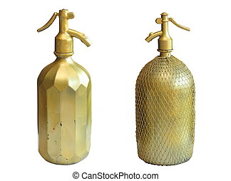 very old copper bottles for sparkling water