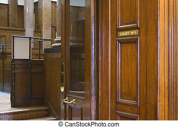 Looking into very old (1854) Crown Courtroom at St Georges Hall, Liverpool, UK