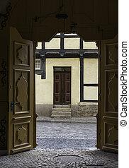 very old door half timbered