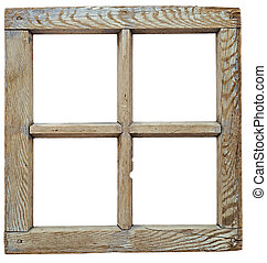 Very old grunged wooden window frame isolated in white