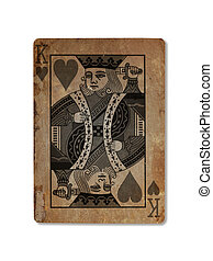 Very old playing card, King of hearts