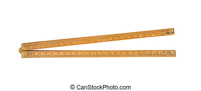 Very old ruler isolated on a white background