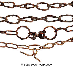 very old rusty chain isolated on a white background