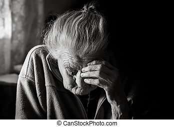 Very old tired woman - Black and white portrait of a very...