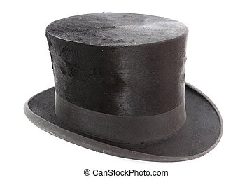 very old topper hat over white background