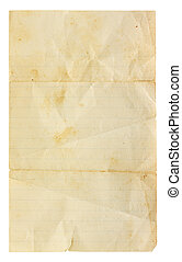 Aged and worn lined paper with creases, tears and wrinkles. Completely blank with room for text or images. Includes clipping path.