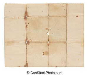 Aged and worn paper with stains, creases, tears and wrinkles. Completely blank with room for text or images. Includes clipping path.