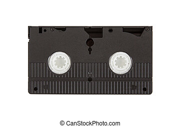 Very old videotape (video cassette) isolated on the white background