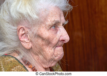 Very old woman, portrait, face in profile, close-up