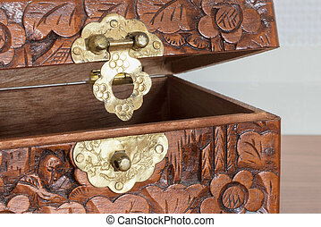 Very old wooden chest with simple lock