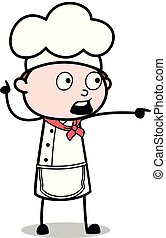Very Scared and Showing Direction - Cartoon Waiter Male Chef Vector Illustration