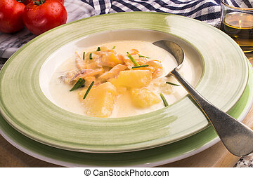 scottish specialty cullen skink in a deep plate