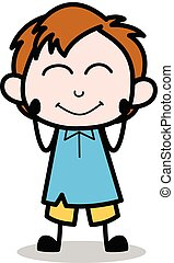 Very Shy - School Boy Cartoon Character Vector Illustration