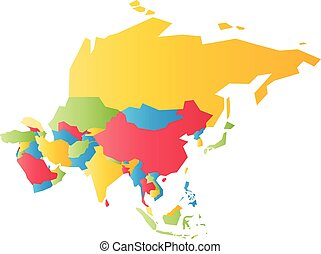 Very simplified infographical political map of Asia. Simple geometric vector illustration