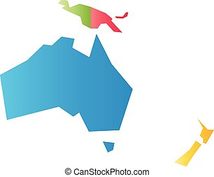 Very simplified infographical political map of Australia and Oceania. Simple geometric vector illustration