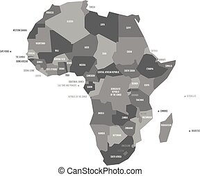 Very simplified vector infographical political map of Africa