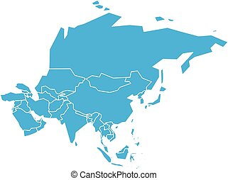 Very simplified vector infographical political map of Asia