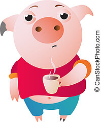 Very sleepy pig with a cup of hot coffee