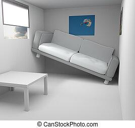 very small modern room 3d rendering