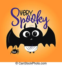 Very spooky halloween text, with cute black bat, and little spider illustration graphic vector.