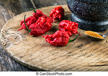 very strongly hot pepper Carolina Reaper or HP22B