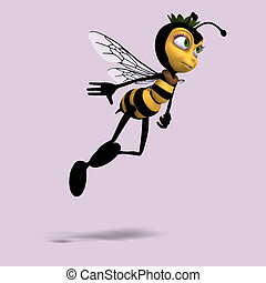 very sweet render of a honey bee in yellow and black with ...