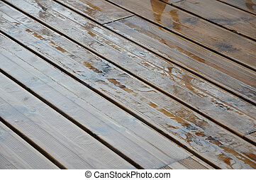 Very Wet Wood Plank of a Terrace